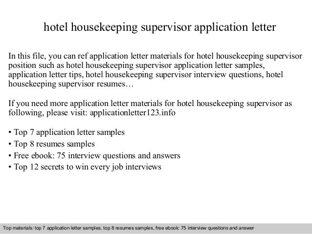 application letter for hotel housekeeping