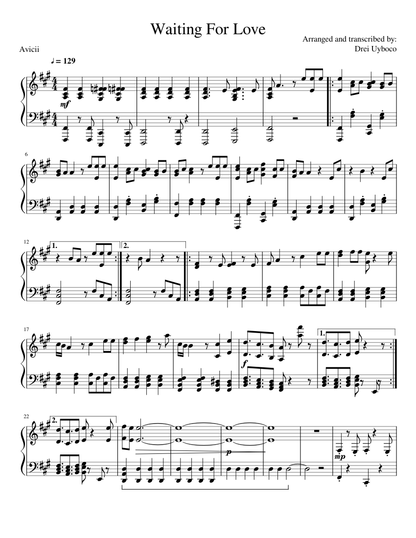 avicii i could be the one piano pdf